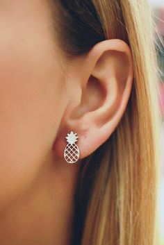 Silver Pineapple Stud Earrings