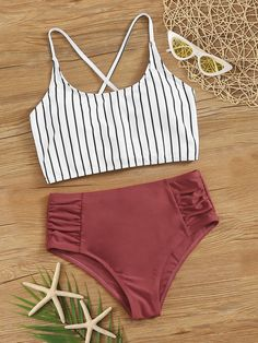 Striped Ruched High Waisted Tankini Swimsuit - Striped Lace Up Back Tankini Set Bathing Suits For Teens, Summer Bathing Suits, Swimsuits For Teens, Cute Bathing Suits, Women Swimsuits, High Waist Bathing Suits, Cute Swimsuits High Waisted, Swimsuits For Juniors, Fashion Swimsuits