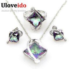 Uloveido 50% de descuento azul cubic zirconia pendientes de cristal de las mujeres anillo de bodas de plata sistemas de la joyería con gran piedra t295