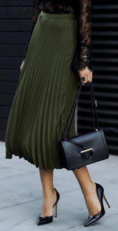 #winter #fashion / Green Pleated Maxi Skirt + Black Pumps