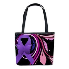 Purple Ribbon, Colorful Floral Bucket Bag $73 #purpleribbon #lupus #fibromyalgia #fibro