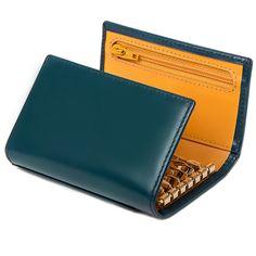Bridle Hide Petrol Blue 6 Hook Key Case / Bridle Hide 6-Hook Key Case / Keys / Leather Accessories / Home - Ettinger London e-shop - Luxury Leather Wallets made in England