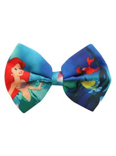 Alligator clip hair bow with Ariel design.
