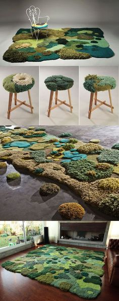 Pastizales di Alexandra Kehayoglou - Tappeti di design che diventano vere sculture in lana con effetto 3D e rinnovano l'idea del classico tappeto grazie a originali pattern che imitano il terreno e i paesaggi della natura