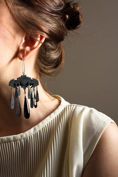 Theresa Burger's blackened silver and onyx earrings.