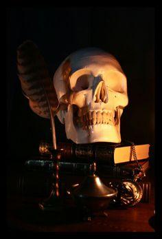 Skull books vintage pocket clock gothic dark