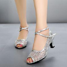 1b08e8b1f67b New Women s Peep-toe Latin Shoes Mesh Ballroom Party Tango Salsa Dance Heels