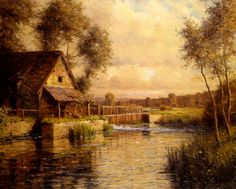 Old Mill in Normandy by Louis Aston Knight, Oil on canvas