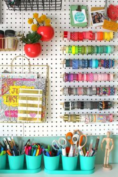 Organizing my craft room - A girl and a glue gun - I showed you guys my whole craft room HERE…. I didn't want to wait any longer to show you even - Space Crafts, Home Crafts, Pegboard Organization, Organizing, Craft Room Design, Craft Room Storage, Craft Rooms, Sewing Rooms, My New Room