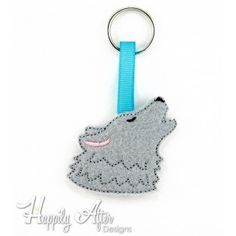 Wolf in the hoop keychain embroidery design