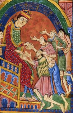 Europa Reenactment King Edmund giving alms. From the 12th century (ca. 1130) Life, Passion, and Miracles of St. Edmund. (MS M.736 Pierpont Morgan Library). One of the Beggars has a pilgrim satchel very similar to the one shown carried by Jesus in the St. Albans Psalter.