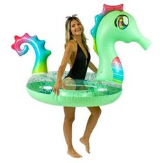 POOLCANDY Inflatable Deluxe Glitterfied Sea Horse Pool Tube, Multicolor with holographic glitter Pool Rafts, Inflatable Float, Blue Glitter, Holographic Glitter, Play Shop, Pool Floats, Pool Toys, Sports Toys, Pvc Vinyl