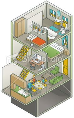 Cutaway Home Interior by vecstar
