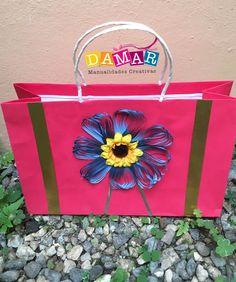 Bolsa decorada con flor girasol Paper Shopping Bag, Bags, Home Decor, Sunflower Flower, Bag Packaging, Sunflowers, Creative Crafts, Creativity, Handbags
