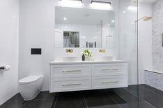The Block 2016 - Week 3 Main Bathroom Reveals - Katrina Chambers Wall Hung Vanity, White Vanity Bathroom, Modern Bathroom, Small Bathroom, Bathroom Toilets, Bathroom Renos, Bathroom Renovations, Bathroom Cabinetry, Cabinets