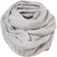 Silver Fine Knit Cable Snood ($32) ❤ liked on Polyvore featuring accessories, scarves, sciarpe, grey, women, silver shawl, grey scarves, gray shawl, grey shawl and cable knit scarves