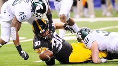 Michigan State outlasts Iowa in dramatic Big Ten title game slugfest Big Ten Football, Iowa Hawkeyes, Michigan, Game, Places, Gaming, Toy, Games, Lugares