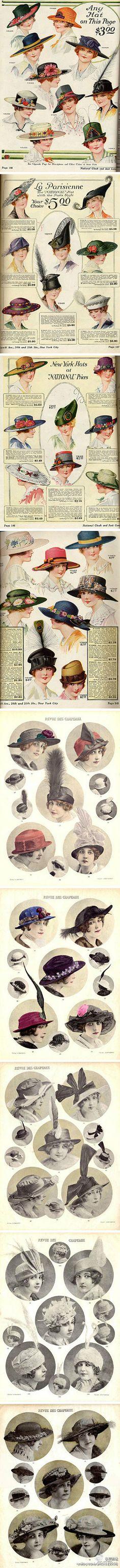欧洲40年代左右的女性帽子。时髦的帽子成为这个时代最常用的装饰
