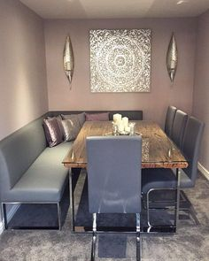 Gemma's stunning Dining Room featuring our Loop Corner Bench and Imola Dining Chairs all in Graphite Grey Bench Dining Room Table, Corner Bench Dining Table, Upholstered Dining Bench, Dining Set With Bench, Corner Seating, Modern Dining Room Tables, Dinning Chairs, Dining Nook, Dining Sets