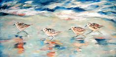Sandpipers Running Painting