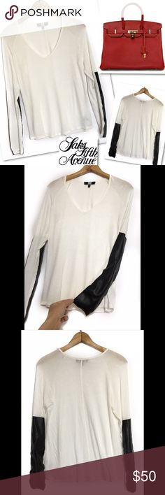 """SAKS FIFTH AVENUE FAUX LEATHER WHITE TOP SHIRT M SAKS FIFTH AVENUE  FAUX LEATHER WHITE TOP SHIRT  SZ M  36-38"""" BUST 23"""" LENGTHBODY: 97% RAYON 3% SPANDEX TRIM: 70% POLYURETHANE 30% POLYESTER RETAILS $200 GREAT CONDITION Saks Fifth Avenue Tops Blouses"""