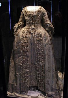 """Silk francaise From Malmö museer. """"Dress, """"robe à la francaise"""" of chene-patterned silk. 1760's-70's, France."""""""