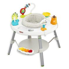 Your baby will love playing with the Skip*Hop Explore & More 3-Stage Activity Center. Featuring an overhead arch, a dancing fox, a hooting owl and a musical hedgehog teether, this dynamic center helps baby have fun and reach special milestones.
