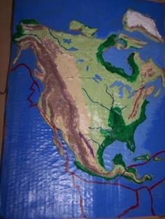 North America Salt Map made from salt dough:  1C salt, 1C flour, 1/2C water, food coloring. Adjust batches as needed.  These were great fun. I think almost everyone in my family made one of these at one time or another in our school years. I loved how the glistened!