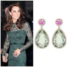HRH Kate Middleton at the Portrait Gala, National Portrait Gallery, London, March Duchess of Cambridge in Kiki McDonough Candy Pink Tourmaline and Green Amethyst Drop Earrings Kate Middleton Wedges, Kate Middleton Style, Kate Middleton Earrings, Royal Crown Jewels, Royal Jewelry, Duke And Duchess, Duchess Of Cambridge, Princesse Kate Middleton, Prinz William
