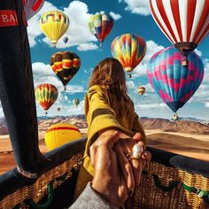 Another photo by Murad Osmann in a hot air balloon in with his beautiful muse. Balloon Rides, Hot Air Balloon, Air Ballon, Murad Osmann, Tumblr Wallpaper, Belle Photo, Adventure Travel, Travel Inspiration, Travel Ideas