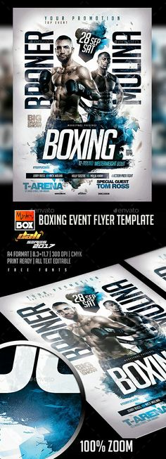 Boxing Flyer Template #boxing #MMA #flyer #template #photoshop