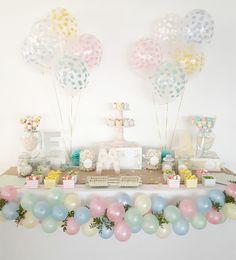 Candy bar comunión en tonos pastel