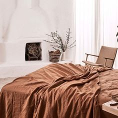 We& teamed up with our good friends at We Are Triibe to create an exclusive new linen colour, Tobacco. The rich, earthy shade looks brilliant with our classic IN BED colours as well as our new shade, clay. Bed Sets, Bed Linen Sets, Crib Sets, Bed Linen Design, Bed Design, Linen Sheets, Linen Bedding, Bed Linens, Black Bed Linen