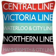 Tube Line Colour Key One - Art Print Cushion  London Transport  Iconic Map Roundel