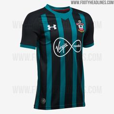 The Southampton 17-18 away kit brings an odd look to the club, featuring black and green stripes.