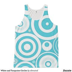 White and Turquoise Circles All Over Print Tank Top by elenaind #Zazzle