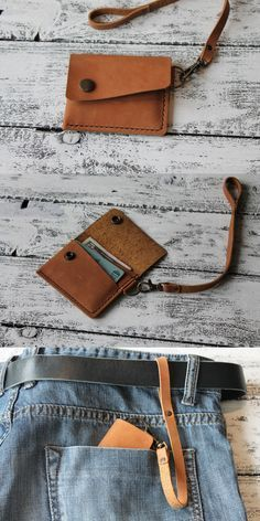 Leather card holder, slim wallet, front pocket wallet, cardholder with strap, le… – Craig – Join the world of pin Leather Wallet Pattern, Small Leather Wallet, Handmade Leather Wallet, Leather Card Wallet, Leather Gifts, Leather Craft, Leather Wallets, Leather Totes, Leather Purses