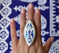 Items similar to Cloisonné enamel and Silver ring - Turkish ornaments, Sterling silver, Gift for her on Etsy Ceramic Jewelry, Enamel Jewelry, Silver Gifts, Blue Rings, Gifts For Her, Jewelery, Unique Jewelry, Ethnic Jewelry, Jewelry Ideas