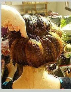 tucking hair into headband