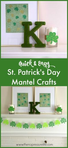 Get cute DIY decor ideas to create a fun and green St Patrick's Day mantel! These easy amd simple St. Pattys craft projects for your mantle include banners and art, as well as a free printable Irish blessing! Come check it out. #StPattysDay #StPatricksDay #StPatricksDayMantle #StPatricksDayMantel #StPatricksDayDecor via @nopressurelife