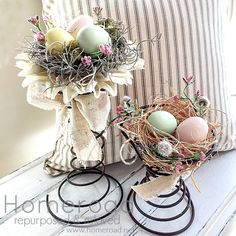 """How to make your own """"Spring"""" centerpieces using vintage bed springs"""