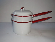 Vintage Double Boiler Enamelware White Red Trim. $16.00, via Etsy.