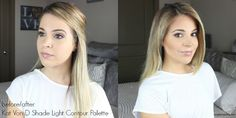 A before and after tutorial using the Kat Von D Shade Light Contour Palette to slim and sculpt the face