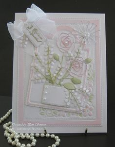 Card by Pam Simpson (073115) [Crealies Crea-Nest-lies Stitched Rectangles No 24; Memory Box English Rose Stem; Poppystamps Cottage Corner, Holiday Winterberries, Stitched Annaleigh Tag Decoration, Stitched Main Street Tags, Woodley Stem]