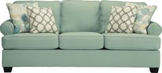 Ashley Daystar 2820038 Signature Design Seafoam Sofa - With light and linen-feel upholstery, stylish setback arms and crisp welt detailing, the Daystar collection is like a breath of fresh air to your home decor.