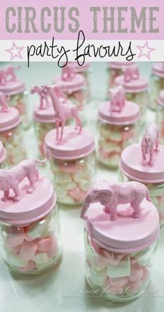 Pink circus-themed birthday party favors - such a cute idea to DIY for a child's party! Baby food jar + plastic animal + spray paint - click through for easy instructions!