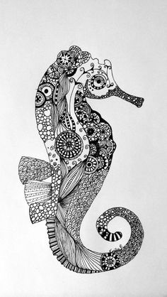 Seahorse Zentangle tangle My