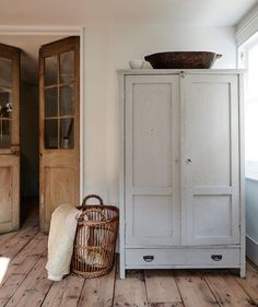 Wooden Armoire / Cabinet Wicker Basket Wooden French Doors Entryway Storage for Mudroom Modern Farmhouse Vintage Antique Furniture - March 09 2019 at Furniture, House Design, Interior, Interior Styling, House Inspiration, Home Decor, House Interior, Interior Design, Vintage Armoire