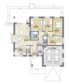 House Plans One Story, House Front Design, Planer, Facade, Beautiful Homes, Pergola, Villa, Floor Plans, Flooring