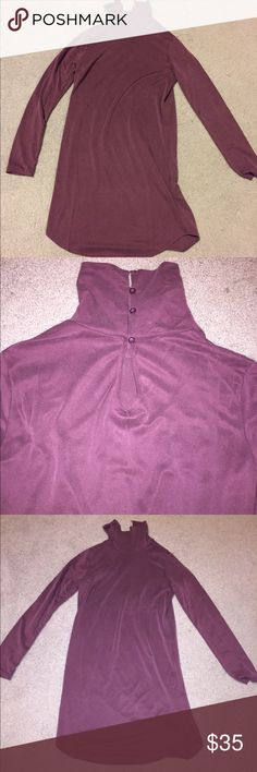 """Super soft plum turtleneck dress I literally just took the tags off of this dress but I have never worn it. It is so very soft and long sleeved-- perfect for fall in every way! I'm 5'2"""" and the dress comes down a little bit past my knees. Will accept offers. Forever 21 Dresses Midi"""